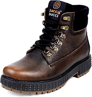 Bacca Bucci® Men's Storm Surge Oil Full Grain Leather Insualted/Rugged/Breathable/Height Increaser Work Boots