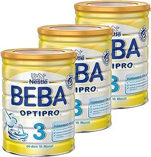 Nestlé BEBA雀巢贝巴 OPTIPRO 3段初始后续奶粉 适合10个月以上婴幼儿 3罐装 (3 x 800 g)(不含助溶剂,冲泡需用力摇,冲后有结晶非品质问题,请放心食用)