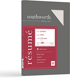 """Southworth 100% Cotton Resume Paper, 8.5"""" x 11"""", 32 lb/120 gsm, Linen Finish, Almond, 100 Sheets - Packaging May Vary (RD1..."""