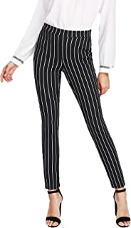 Women's Striped Elastic High Waist Slim Fit Loose Casual...
