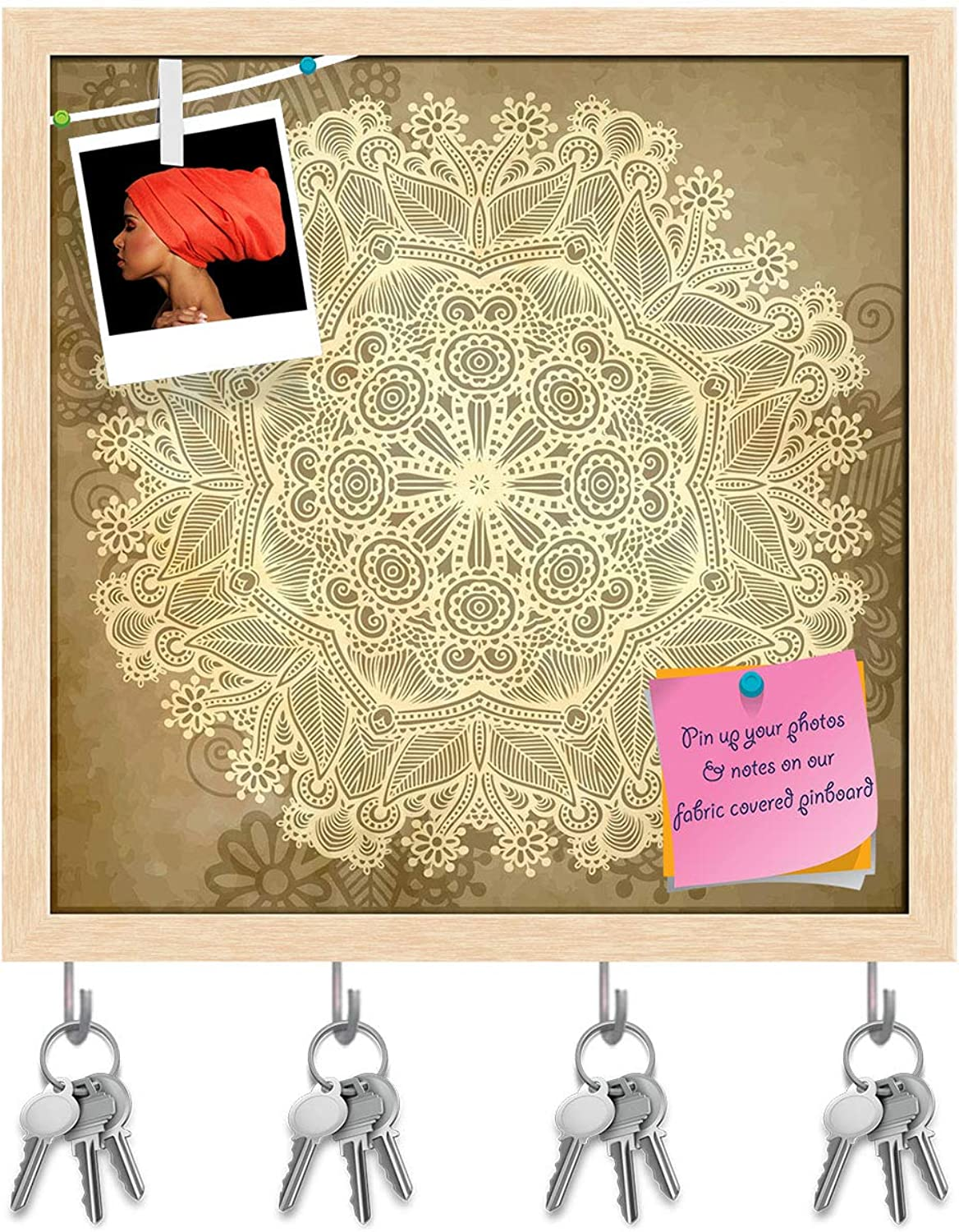 Artzfolio Circle Lace Ornament Key Holder Hooks   Notice Pin Board   Natural Brown Frame 20 X 20Inch
