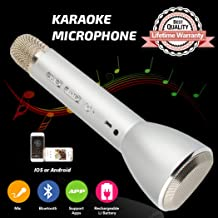 Wireless Karaoke Microphone Bluetooth for kids, Portable Karaoke Machine with Speaker, Karaoke Mic for Home Party KTV Music Singing Playing, Support iPhone Android IOS Smartphone PC iPad(Silver)