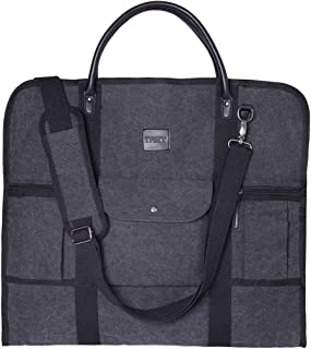 TFSKY Casual Suit Bag Carry On Garment Bag Flight Bag Canvas Suit Shoulder Bag for Travel & Business Trips with Shoulder Strap (Style3, Black)