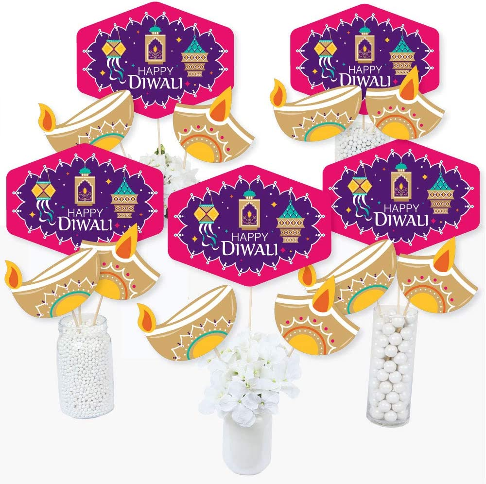 Big Dot of Happiness Happy Diwali - Festival of Lights Party Centerpiece Sticks - Table Toppers - Set of 15