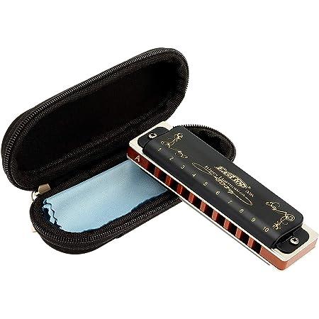 East top Harmonica diatonique en A 10 trous 20 tons T008K avec étui noir, harmonica blues pour Adultes débutant, étudiants et enfants, comme meilleur cadeau