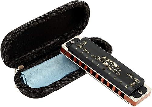 East top Harmonica diatonique en A 10 trous 20 tons T008K avec étui noir, harmonica blues pour Adultes débutant, étud...