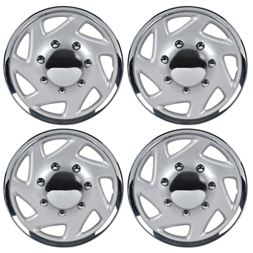 BDK KT-317-16-CS_AMZKING Silver Ford Hubcaps Wheel, 16
