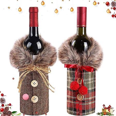 decorazione da tavolo 4 pezzi di copertura per bottiglia di vino natalizia mini cappello di Babbo Natale decorazione per bottiglie PRETYZOOOM vestiti per decorazioni natalizie