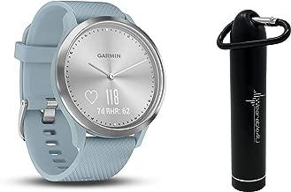 Garmin Vivomove HR Multi Sport Hybrid Smartwatch with Wearable4U Compact Power Bank Bundle (S/M: 122-189 mm, Sport, Silver with Sea Foam Silicone Band)