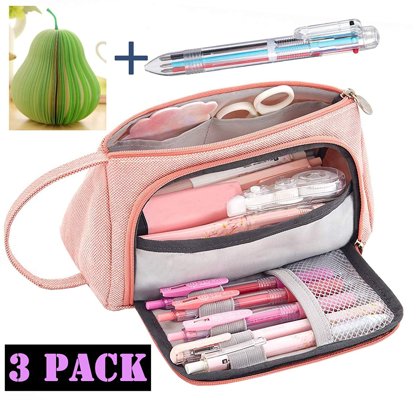 Big Capacity Pencil Pen Case Bag Pouch Holder for Middle High School Office Girl Adult Large Storage Pencil Case-Includes 1PCS Post-it Note and 1PCS Multicolor Ballpoint Pens(Pink)