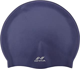 Nivia Classic Silicone Adult Swimming Cap (Navy Blue)