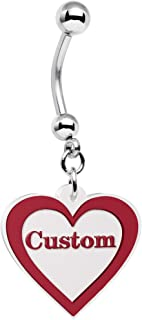 Body Candy Steel Red and White Valentines Day Heart Personalized Name Dangle Belly Ring