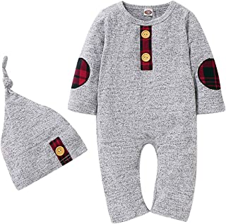 Newborn Baby Boy Romper Jumpsuit Organic Cotton Outfits Long Sleeve One-Piece Pajamas and Cap Clothes Set