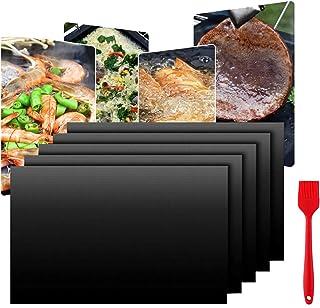 WELLXUNK Tapis de Cuisson Barbecue, 5 Pièces 40x33 cm Tapis Barbecue Set, Papier Cuisson Réutilisable, Feuilles de BBQ Ant...