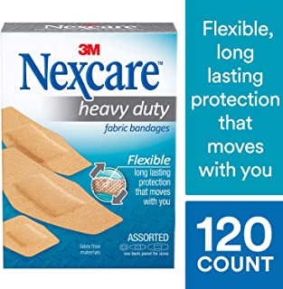 Nexcare Heavy Duty Flexible Fabric Bandages, Tough, Made by 3M, Assorted Sizes, 30 Count Packages (Pack of 4)