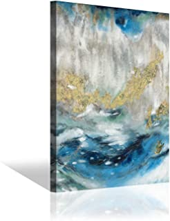 Blue Abstract Picture Wall Art: Swirl Artwork with Gold Foil Painting Print for Bedroom (24'' x 18'' x 1 Panel)