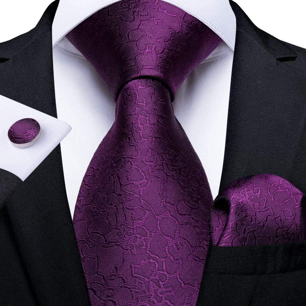 Ties For Men Purple Floral Paisley Necktie Business Formal Silk Tie Pocket Square Set For Wedding Party Cravat