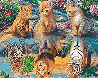 Adult Acrylic Paint by Numbers Kit for Adults Beginners Canvas by 20x16 Inch Cat Kitten Dreams to Be Tiger Lion Leopard, F...