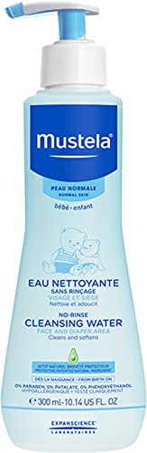 Mustela No Rinse Cleansing Water, Micellar Water Cleanser for Baby's Face, Body and Diaper, with Natural Avocado Pers...