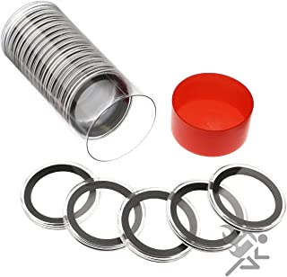 1 Air-Tite Coin Holder Storage Container & 20 Black Ring 38mm Air-Tite Coin Holder Capsules for Silver Dollars