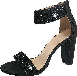 Women's Open Toe Crystal Rhinestone Ankle Strap Chunky High Heel Dress Sandal