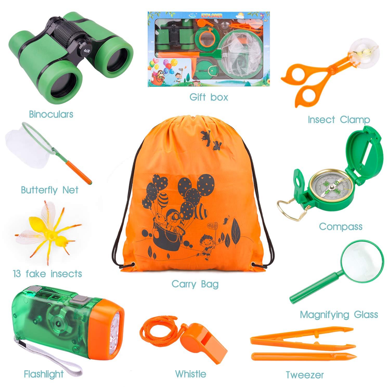 Tintec Kit de Juguetes de Exploración, Juguetes Al Aire con 24 Piezas, Niños de 3-10 Años de Aventura al Aire Libre Juguetes Educativos Regalo de Cumpleaños para Niños con Mochila Brújula Binocular: