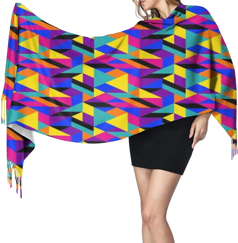Cashmere fringed scarf 90s geometric winter extra large scarf