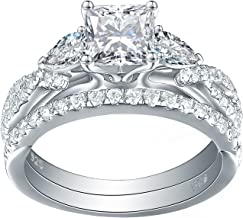 Newshe 1.7ct Princess Pear White AAA Cz 925 Sterling Silver Engagement Wedding Ring Set Size 5-10