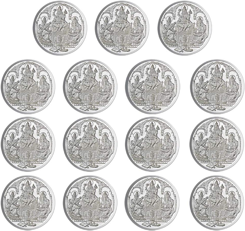 Ganesh Laxmi Saraswati Coin In Pure 999 Silver 2.5 Grams Set Of 15 Religious Coins