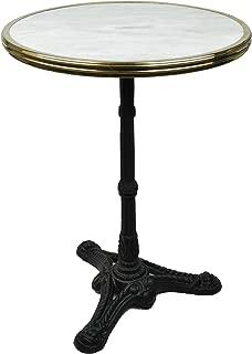 Bonnecaze Absinthe & Home French Bistro Table, White Marble & Iron Base
