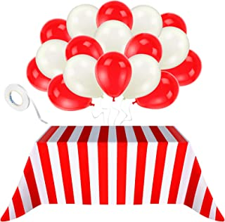 Blulu 2 Packs Red and White Striped Carnival Circus Party Table Cover Tablecloths, with 20 Pieces Balloons and 10m White R...
