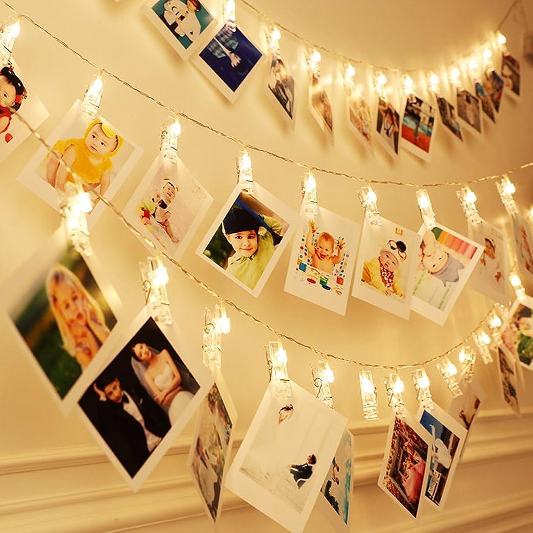 特別なねばねばどこでもDreamiracle LEDストリングライト LED写真クリップ イルミネーションライト フラッシュカラー ホーム装飾 暖かい光