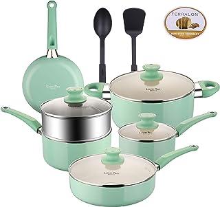 Juego de ollas y sartenes con revestimiento de utensilios de cocina de aluminio antiadherentes con tapas de vidrio y utensilios de nailon sartén con vaporizador apto para lavavajillas 12 azul