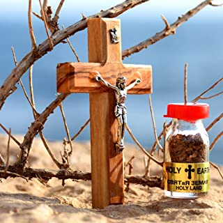 Little Piece from The Holy Land – 5-Piece Gift Set of Wooden Crucifix Jesus Cross, Blessed Olive Oil, Holy Insence, Holy Earth from Jerusalem & Holy Water from The Jordan River – Made in Jerusalem