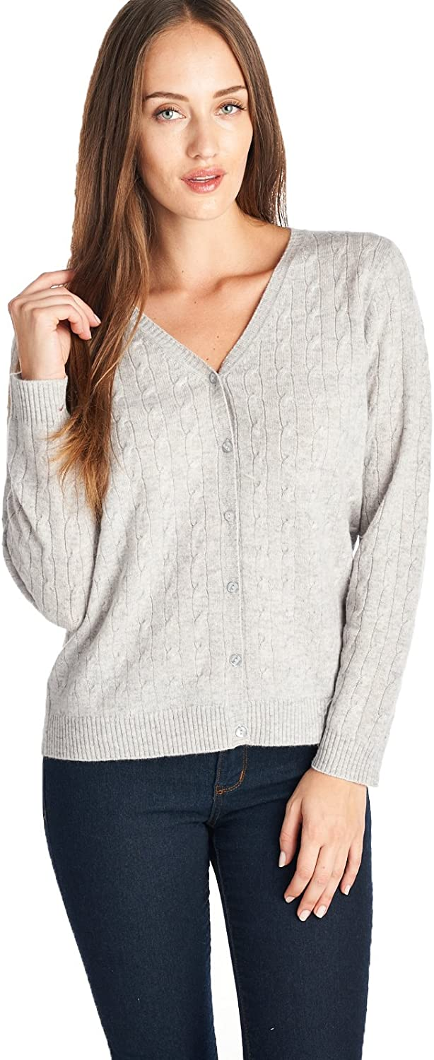 High Style Women's 100% Cashmere Cable Knit VNeck Cardigan
