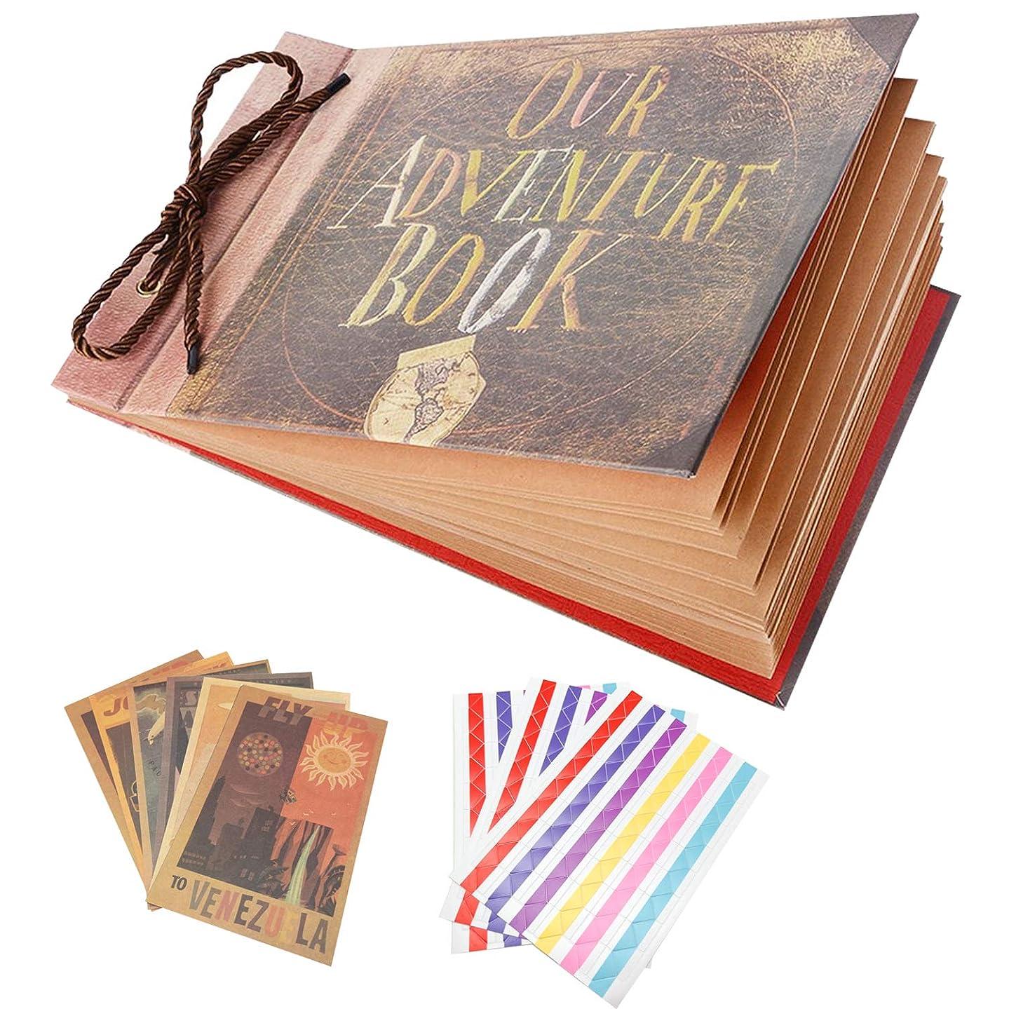 SAIBANG Photo Album Scrapbook, DIY Handmade Album Scrapbook Movie Up Travel Scrapbook for Anniversary, Wedding, Travelling, Baby Shower, etc (Our Adventure Book)