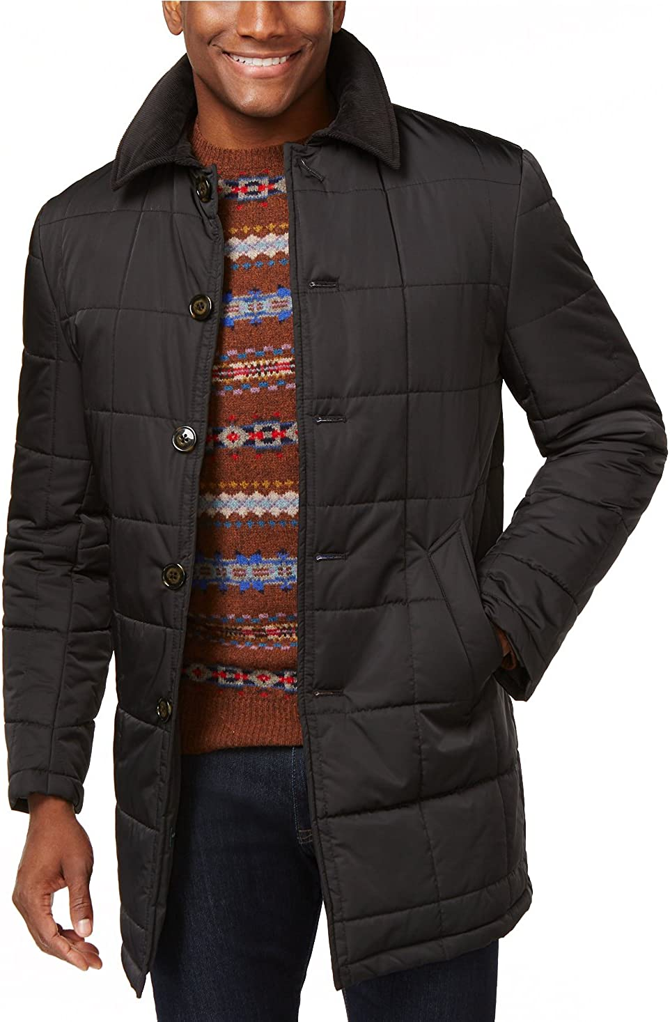 Ralph Lauren Men's Classic-Fit Quilted Jacket Single Breasted Solid Raincoat - Colors