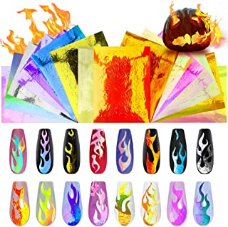 Flame Reflections Nail Stickers - 16PCS New Trend Halloween Holographic Fire Flame Nail Art Decals, DIY Nail Foils Tape Adhesive Decoration By DR.MODE
