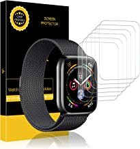 LK 6 Pack Screen Protector for Apple Watch (38mm Series 3/2/1 40mm Series 5 4 Compatible) Max Coverage Anti-Bubble HD Clear With Lifetime Replacement Warranty