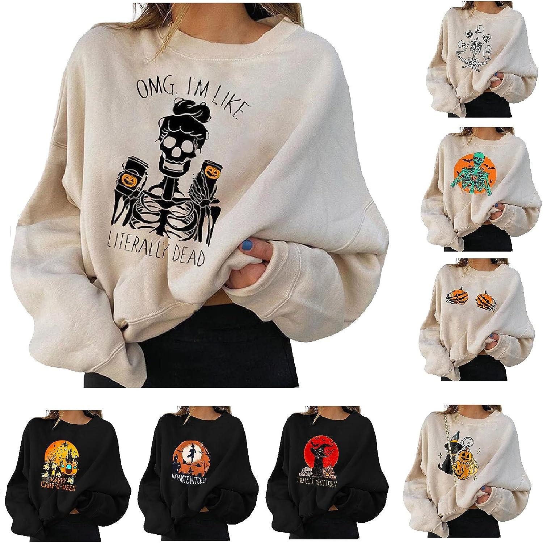Halloween Sweatshirts for Women, Womens Pumpkin Print Sweater Shirts Halloween Skull Long Sleeve Pullover Tops Blouses