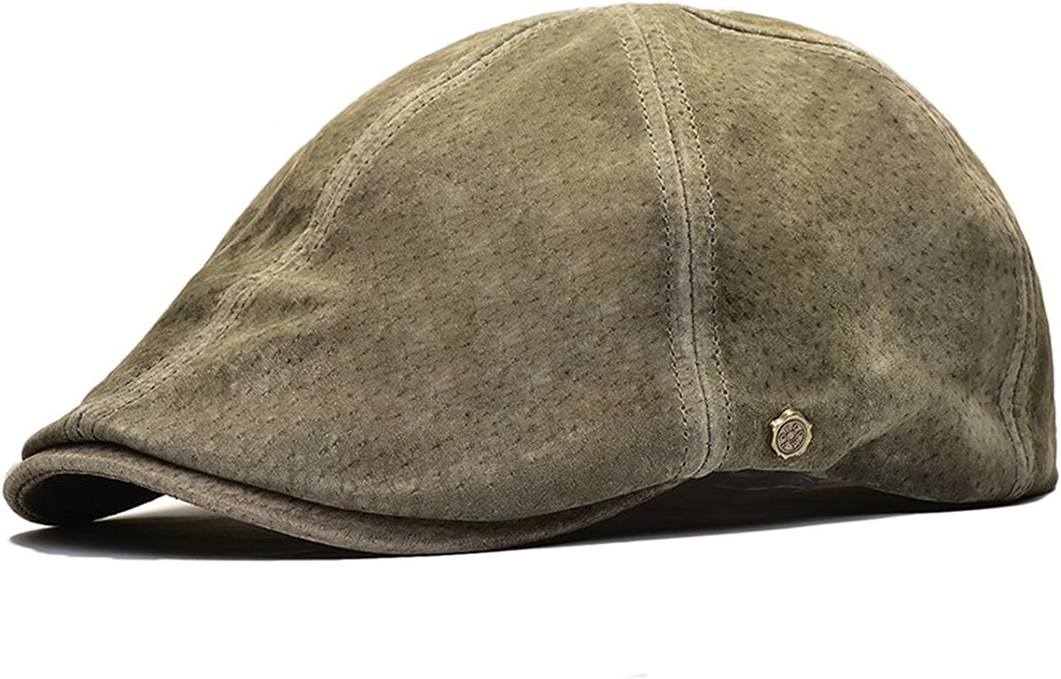 MEIZOKEN Suede Leather Newsboy Cap Men Women Frosted Nubuck Pigskin 8 Panel Gatsby Baker Hat with Lining