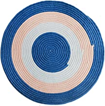 Color Chenille Round Woven Rug, Modern Computer Desk and Chair pad Living Room Non-Slip Carpet (Size : 40 * 40cm)