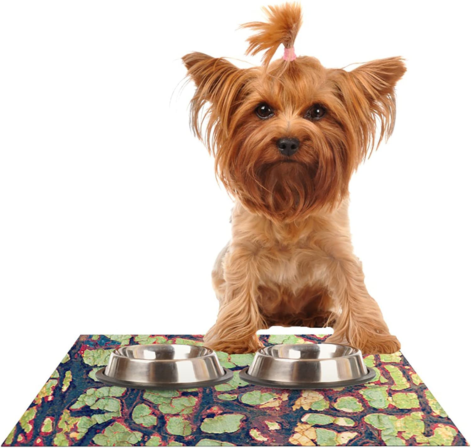 Kess InHouse Robin Dickinson Pretty Patina  Bark Pet Bowl Placemat for Dog and Cat Feeding Mat, 24 by 15Inch