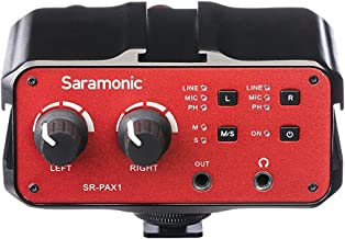 DSLR Preamp, Audio Mixer, Saramonic PAX1 2-Channel Microphone Adapter with Phantom Power, Dual XLR, 6.3mm, 3.5mm Inputs + 3.5mm Output for Canon Nikon Sony DSLR Cameras Pentax Panasonic Camcorders