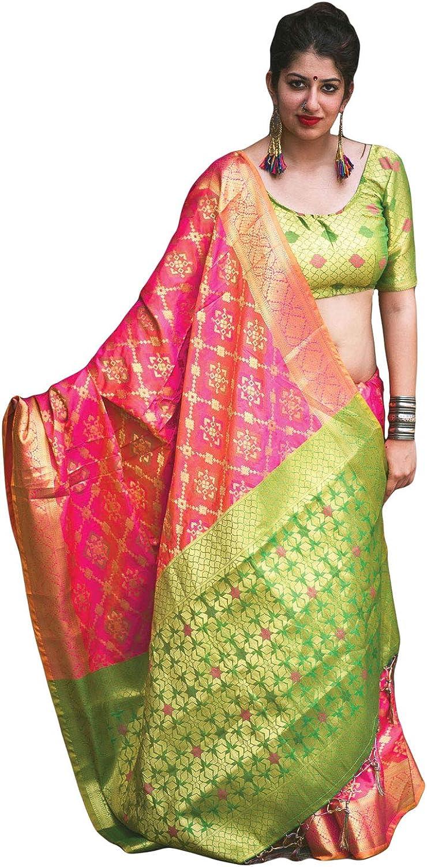 DesiButik's Party Wear Ravishing Pink Patola Silk Saree