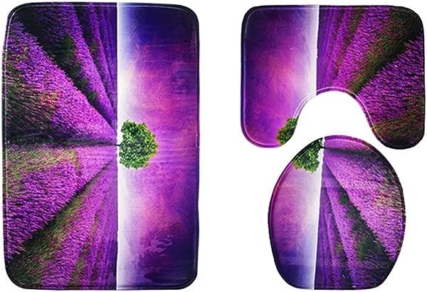 巧 3 件装浴室地毯套装浴室防滑套浴垫型材罩马桶盖地毯用于浴室薰衣草