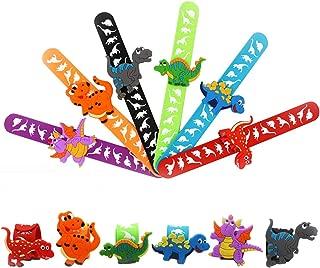 STARKMA 6 Pcs Dragon Dinosaur Slap Bracelets Silicone Wristbands for Kids Dragon Dinosaur Theme Birthday Party Supplies