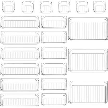 InnoGear Set of 21 Desk Drawer Organiser Trays, Clear Plastic Storage Boxes Divider Make-up Organiser for Kitchen Bedroom Office (Frosted Transparent)