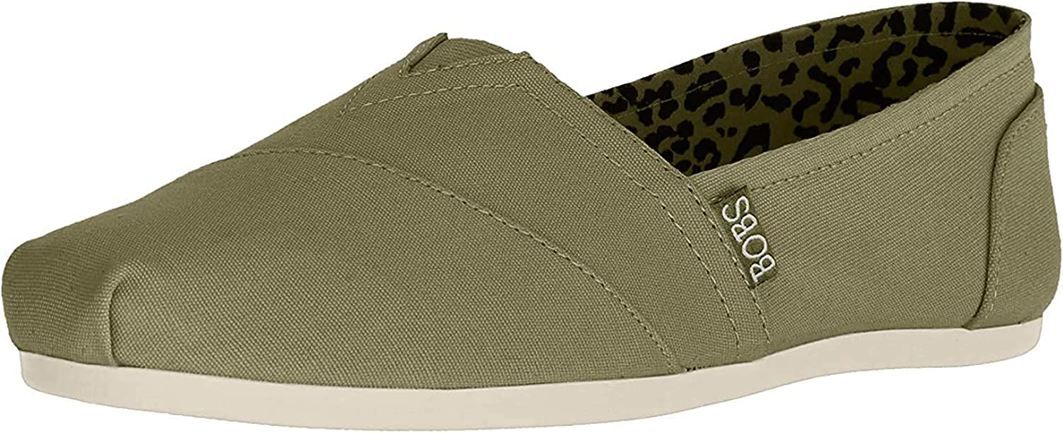 Skechers Bobs Plush Peace and Love Womens Slip On Shoes Olive 12