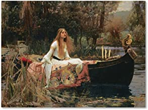 The Lady of Shallot by John William Waterhouse, 35x47-Inch Canvas Wall Art